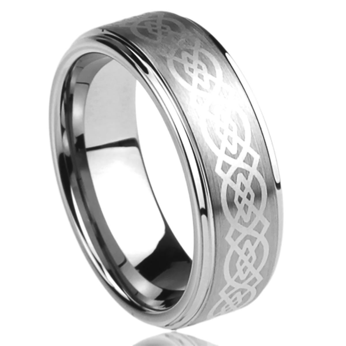 Men Women 8MM Titanium Comfort Fit Wedding Band Ring Laser Etched Celtic Knot